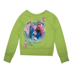Disney Little Girls Lime Green Frozen Heart Print Long Sleeve Sweater 5-6X