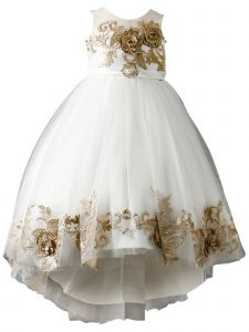 Little Girls Off White 3D Lace Appliques High Low Flower Girl Dress 2-6