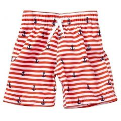 Azul Little Boys Red Stripe Smooth Sailing Print Drawstring Swim Shorts 12-14