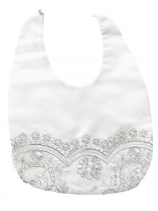 Princess Daliana Baby Girls Off White Silver Flower Embroidered Lace Bib