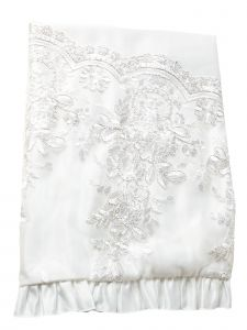 Princess Daliana Baby Girls Off White Embroidered Lace Ruffle Trim Blanket