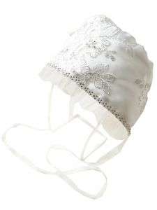 Princess Daliana Baby Girls Off White Silver Flower Embroidered Lace Bonnet