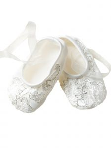 Baby Girls Off White Silver Flower Embroidered Lace Soft Sole Crib Shoes 3-24M
