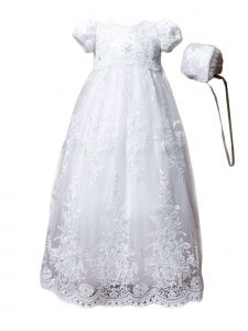Baby Girls Multi Color Embroidered Lace Capped Sleeve Christening Gown 3-24M
