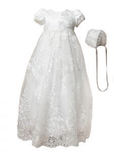 Baby Girls Off White Embroidered Lace Capped Sleeve Christening Gown 3-24M