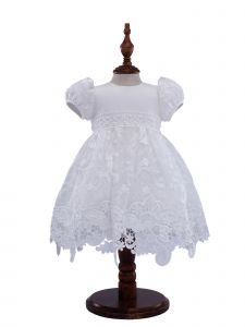 Baby Girls Off White Pearl Stunning Lace Short Sleeve Christening Gown 18M
