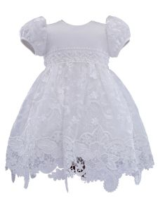 Baby Girls Off White Pearl Stunning Lace Short Sleeve Christening Gown NB-24M
