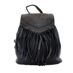 Hearty Trendy Girls Women Black Fringe Faux Leather Backpack