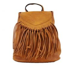 Hearty Trendy Girls Women Brown  Fringe Faux Leather Backpack