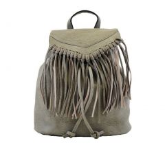 Hearty Trendy Girls Women Gray Fringe Faux Leather Backpack