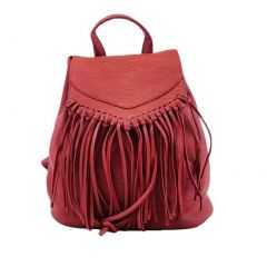 Hearty Trendy Girls Women Red Fringe Faux Leather Backpack