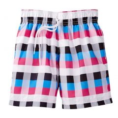 Azul Big Boys Black Pink Square Print Drawstring Vichi Swim Shorts 8-14