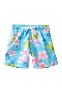 Azul Little Boys Turquoise Tropical Notes Drawstring Tie Swimwear Shorts 2-4