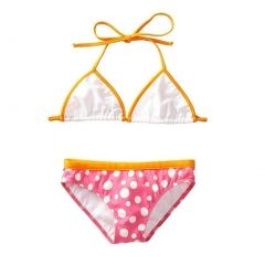 Azul Big Girls Orange Pink Triangle Dippin' Dots 2 Pc Bikini Swimsuit 7-14