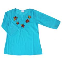Azul Girls Turquoise Hand Beaded Star Long Sleeved Cover Up Tunic 2-8