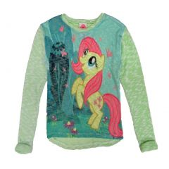 Hasbro Big Girls Blue Pink My Little Pony Print Long Sleeved Sweater 7-12
