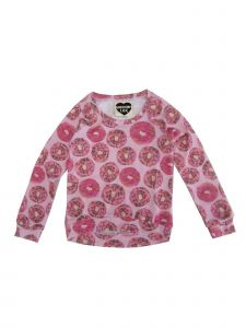 Modern Lux Big Girls Pink Donut Print Crew Neck Long Sleeve Blouse 7-16