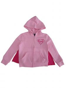 DC Comics Girls Pink Supergirl Logo Hooded Cape Zip-Up Sweater 4-12
