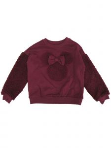 Disney Little Girls Burgundy Minnie Mouse Fleece Arms Crew Neck Sweater 2-4T