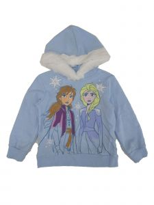 Disney Little Girls Blue White Frozen Ana And Elsa Faux Fur Seasonal Hoodie 2-5T