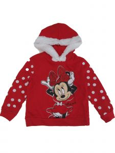 Disney Little Girls Red White Dots Minnie Mouse Faux Fur Seasonal Hoodie 2-5T