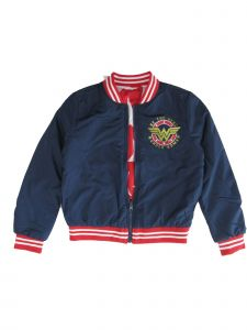 DC Comics Little Girls Navy Wonder Woman Logo Jacket 5-6X