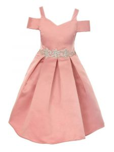 Crayon Kids Big Girls Rose Cold Shoulder Rhinestone Bow Dress 8-14