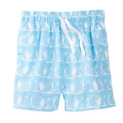 Azul Little Boys Light Blue White Penguin Print Freeze Swimwear Shorts 2-6