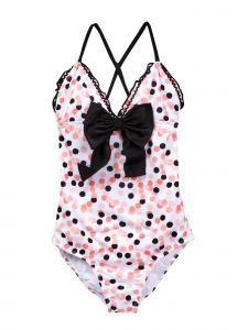 Azul Little Girls Pink Black Dot Save My Spot Triangle One Piece Swimsuit 4-6