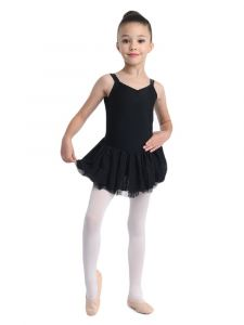 Danshuz Little Girls Black Camisole Macrame Back Dance Dress 2-6