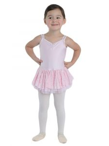 Danshuz Little Girls Pink Camisole Macrame Back Dance Dress 2-6