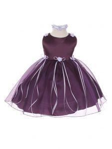 Kids Dream Baby Girls Eggplant Organza Rosebud Ribbon Flower Girl Dress 6-24M