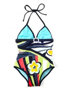 Azul Little Girls Turquoise Rockin Retro Halter Neck 1 Pc Swimsuit 4-5