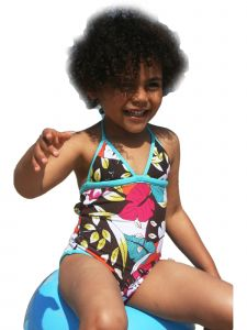 Azul Big Girls Multi Color Survivor Chic Halter Neck 1 Pc Swimsuit 7-8