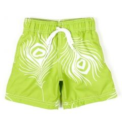 Azul Little Boys Green Feather Flowered Pattern Lined Swimwear Trunks 2-14