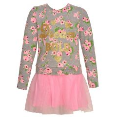 "Little Girls Blush Gold ""Dream Bold"" Floral Print Long Sleeved Dress 2T-6X"