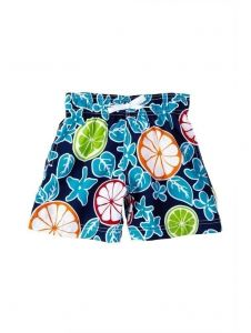 Azul Baby Boys Blue Citrus Lemon Floral Print Drawstring Tie Swim Trunks 12-24M