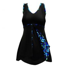 Deep Blue Womens Black Streamers Peek-A-Boo Print One Piece Swim Dress 6-24