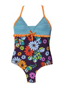 Azul Big Girls Orange Purple Paradise Halter Neck 1 Pc Swimsuit 8-12