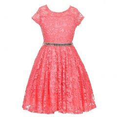 Little Girls Coral Lace Glitter Stone Belt Special Occasion Skater Dress 2-6