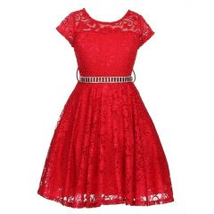 Little Girls Red Lace Glitter Stone Belt Special Occasion Skater Dress 2-6