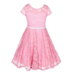 Little Girls Dusty Rose Lace Stone Belt Special Occasion Skater Dress 2-6