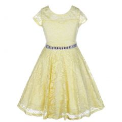 Little Girls Yellow Lace Glitter Stone Belt Special Occasion Skater Dress 2-6