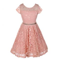 Big Girls Blush Lace Glitter Stone Belt Special Occasion Skater Dress 8-14