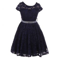 Little Girls Navy Lace Glitter Stone Belt Special Occasion Skater Dress 2-6