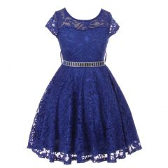 Little Girls Royal Blue Lace Stone Belt Special Occasion Skater Dress 2-6