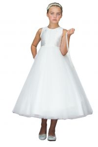 Girls Multi Color Pearl Embroidery Open Back Tulle Communion Dress 2-12