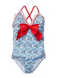 Azul Little Girls Blue Red The Natural Bow Ruffle One Piece Swimsuit 4-6