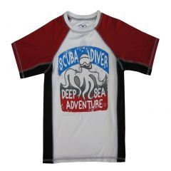 "OP Boys White Red ""Scuba Diver"" Print Short Sleeve Rashguard 4-16"