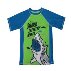 "OP Boys Green Blue ""Shark Infested Water"" Short Sleeve Rashguard 4-16"